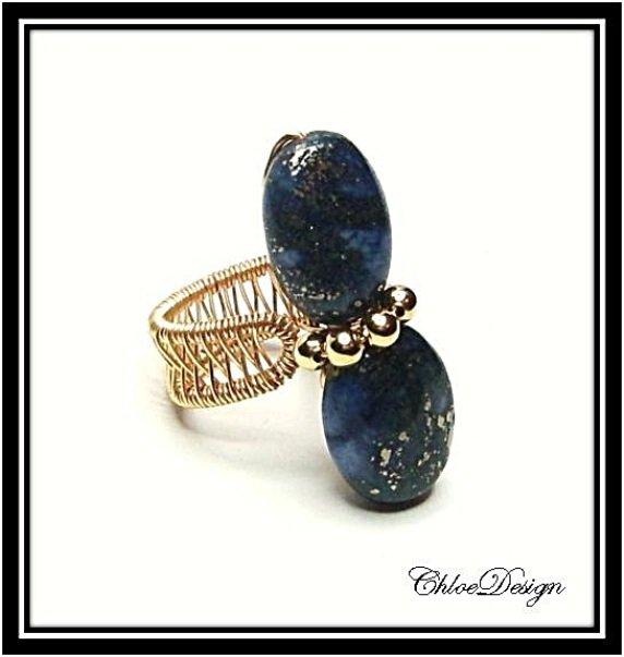 diy pdf tutorial Wire Woven Ring,casual,lapis lazuli gemstones,wrap,Wicca,Reiki