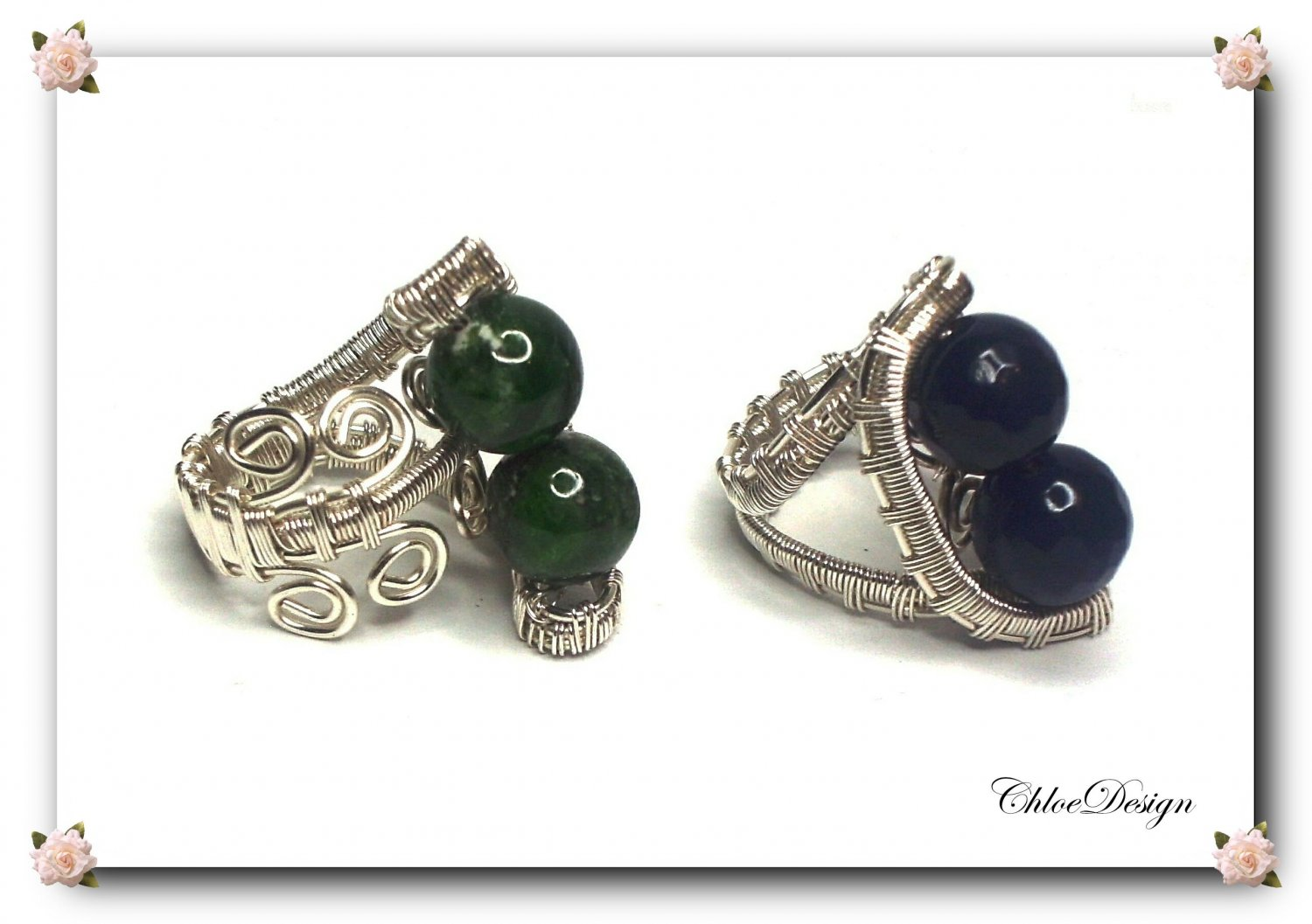 diy pdf Tutorial Wire Wrapping Ring Fantasy,jewelry,adjustable,handmade,sterling,sapphire,diopside
