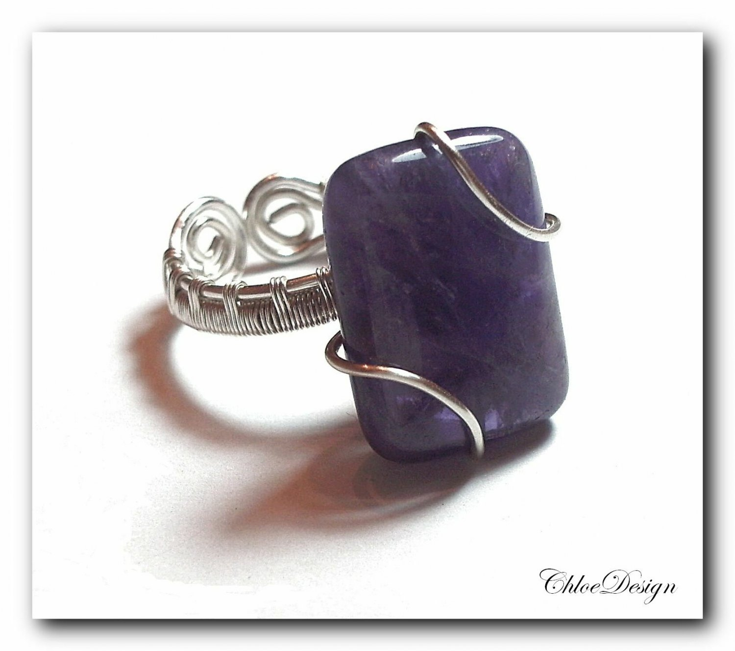 diy pdf Tutorial Wire Wrapping Jewelry Adjustable Amethyst Ring