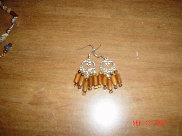 Tiger Eye and Wood Bead Chandelier Earrings