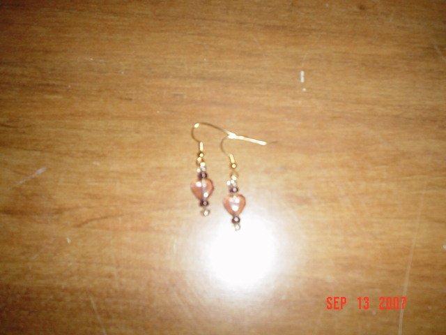 Purple Heart of Glass Earrings