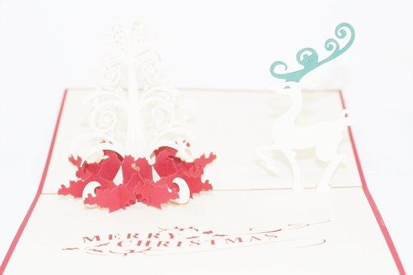 3D PopUp Handmade Merry Christmas Reindeer Card US Seller Love Pop Card