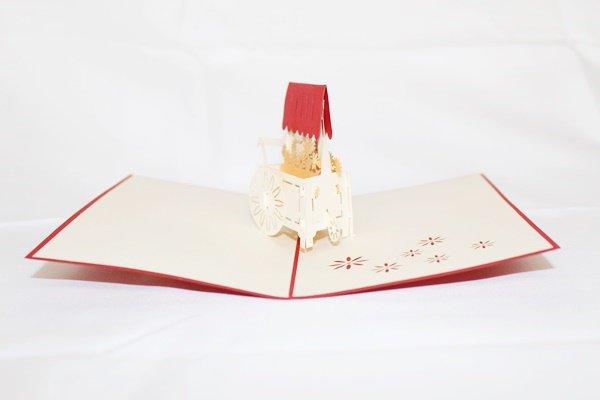 3D Pop Up Handmade Birthday Flower Cart Greeting Card US Seller Love Pop Card
