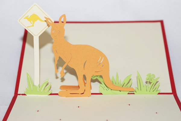 3D PopUp Handmade Kangaroo Card US Seller Love Pop Card