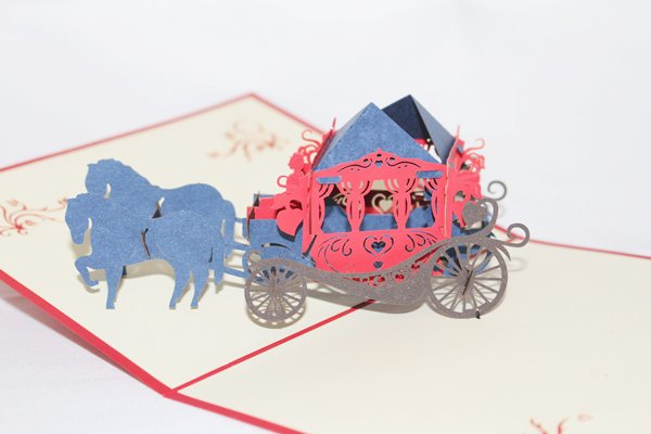 3D PopUp Handmade Horse Carriage Card US Seller Love Pop Card