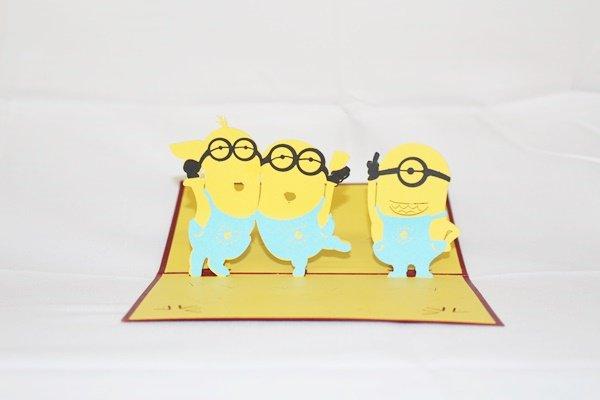 3D Pop Up Handmade Birthday Minion Greeting Card US Seller Love Pop Card