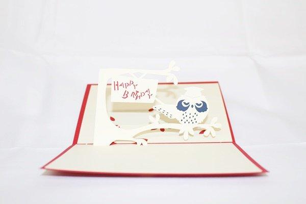 3D Pop Up Handmade Birthday Owl Greeting Card US Seller Love Pop Card