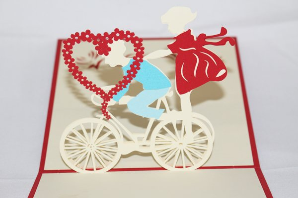 3D PopUp Handmade Boy and Girl on Bicycle Card US Seller Love Pop Card
