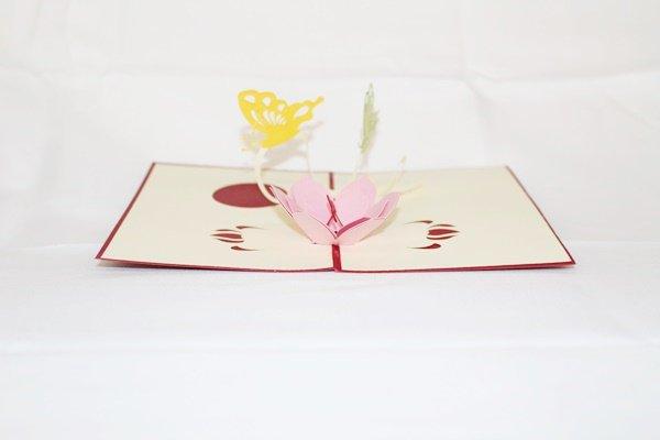 3D PopUp Handmade Flower with Butterfies Card US Seller Love Pop Card