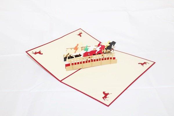 3D PopUp Handmade Race Horses Card US Seller Love Pop Card