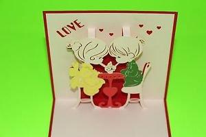 3D Pop Up Handmade Love Couple Greeting Card US Seller Love Pop Card