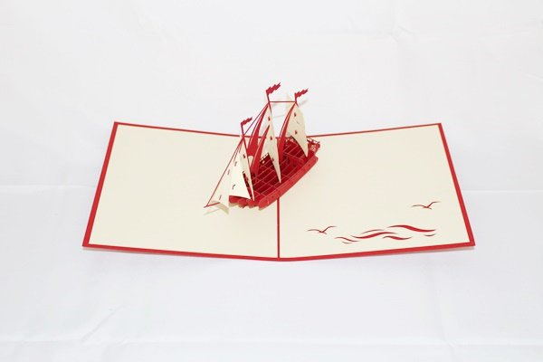 3D PopUp Handmade Red Ship Card US Seller Love Pop Card