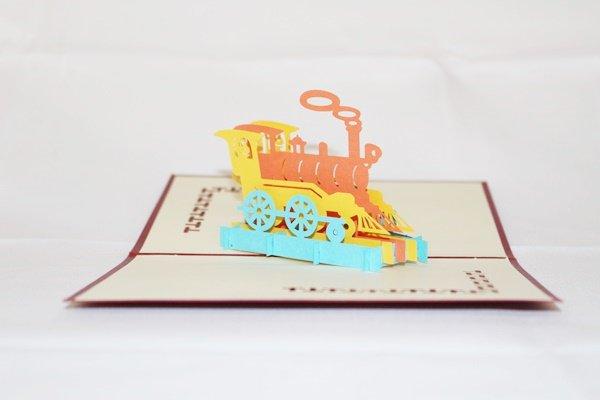 3D Pop Up Handmade Birthday Color Train Card US Seller Love Pop Card