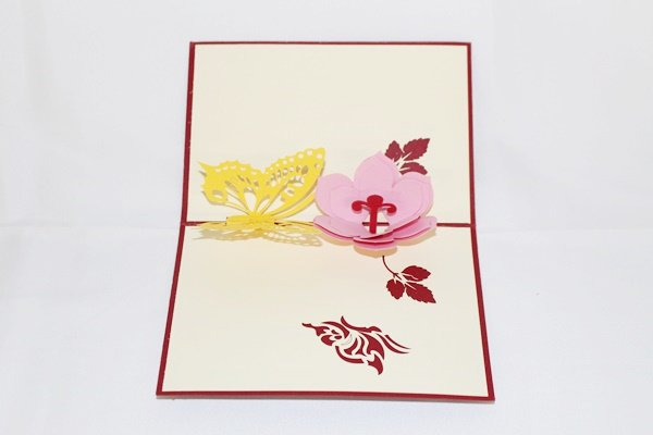 3D Pop Up Handmade Flower With Butterfly Card US Seller Love Pop Card