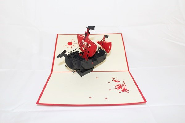 3D PopUp Handmade Black Ship Card US Seller Love Pop Card