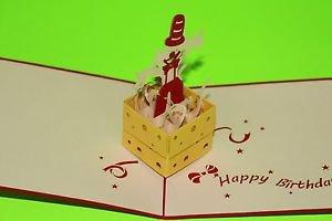 3D Pop Up Handmade Birthday Clown Greeting Card US Seller Love Pop Card