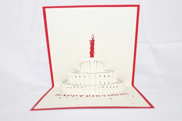 3D Pop Up Handmade Birthday Cake 1 Year Greeting Card US Seller Love Pop Card