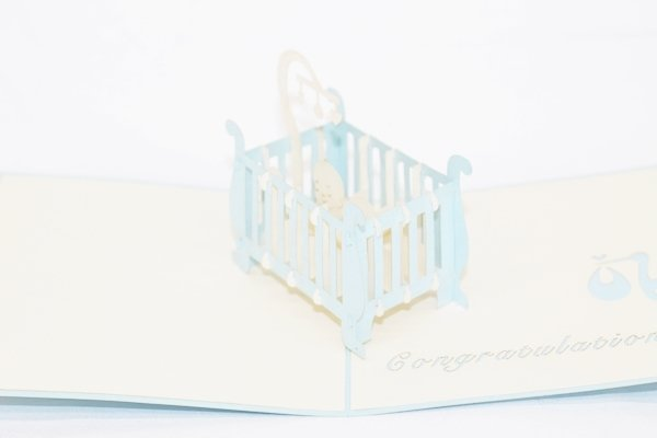 3D PopUp Handmade Baby Boy Crib Card US Seller Love Pop Card