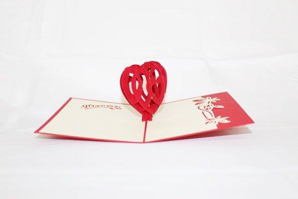 3D Pop Up Handmade Love Red Heart Card US Seller Love Pop Card