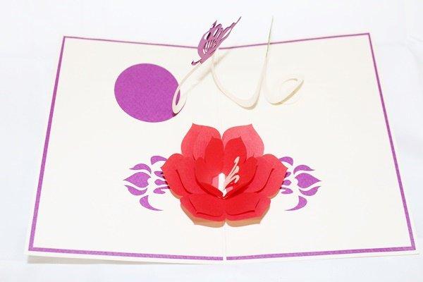 3D Pop Up Handmade Flower & Butterflies Greeting Card US Seller Love Pop Card