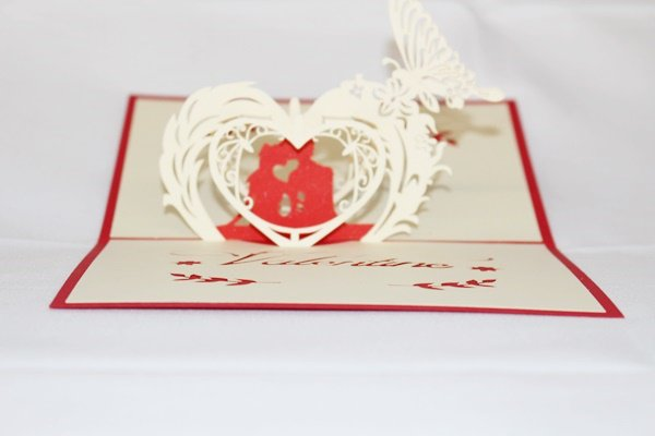 3D Pop Up Handmade Love Couple With Heart Card US Seller Love Pop Card