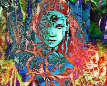 warrior princess in the burning forest