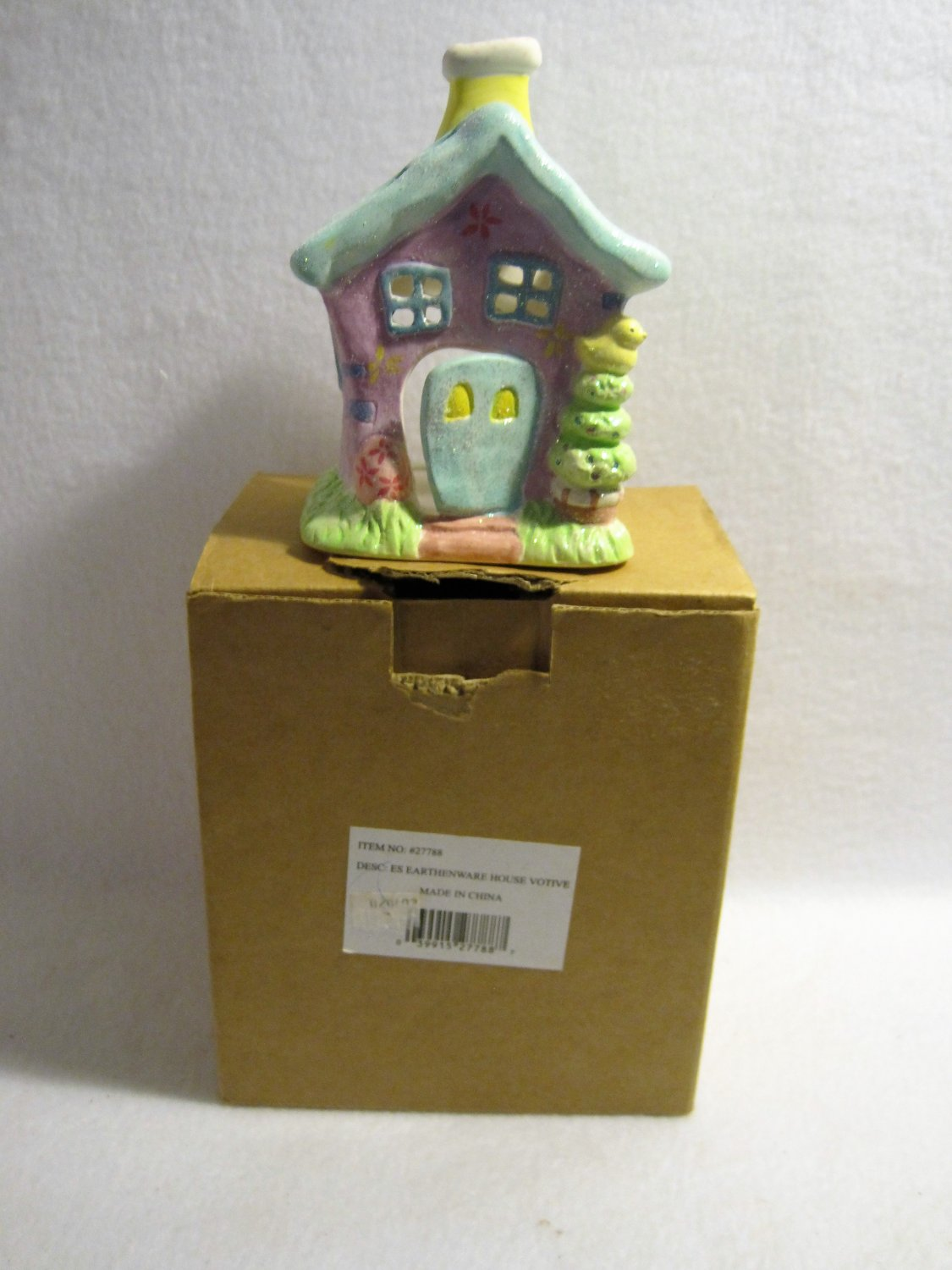 Russ Berrie and Co.~Earthenware House Votive