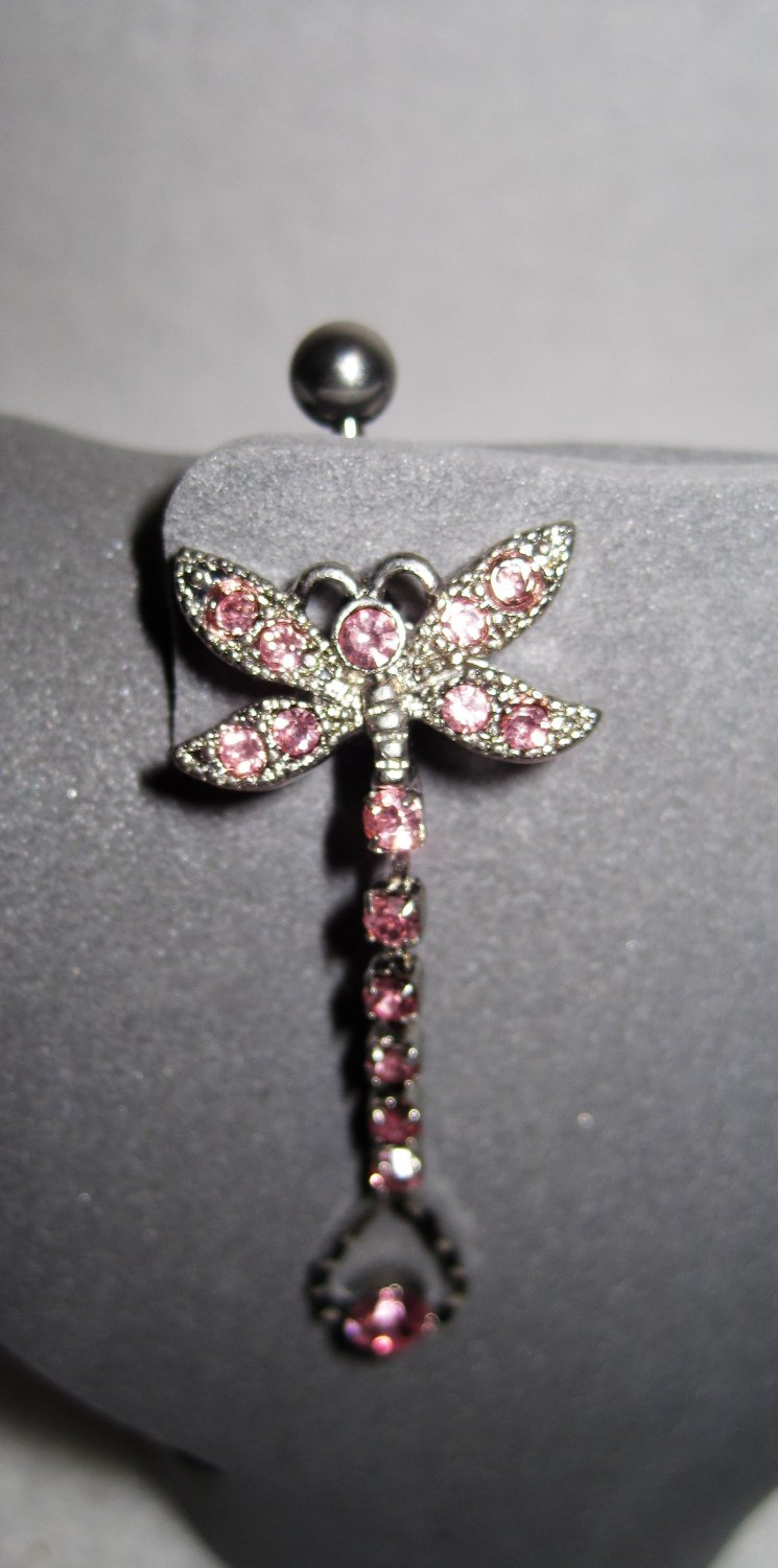 Pink Cubic Zirconia Butterfly Belly Ring