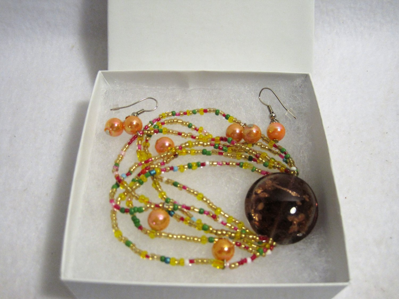 Multi Color Earrings and Bracelet Set