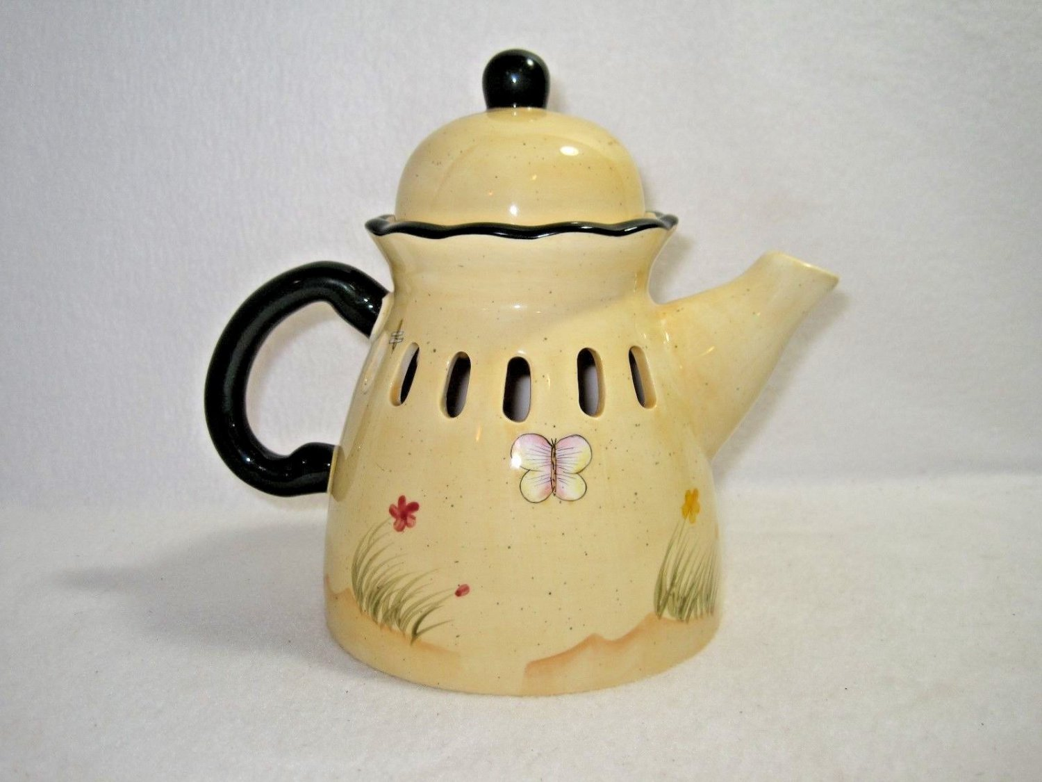 Tea Pot Candle Cover with Butterfly - HOMCO/Home interiors