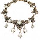 Elegant white crystal pendant leaf necklace