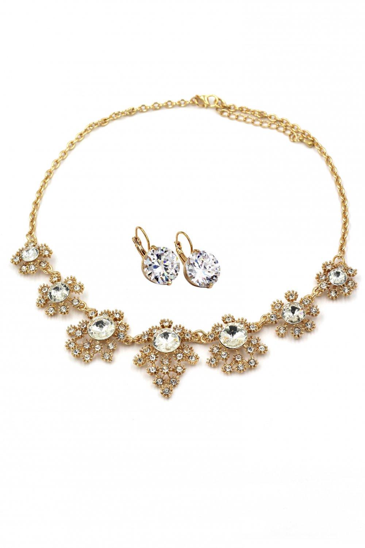 Noble golden flower crystal necklace earrings set