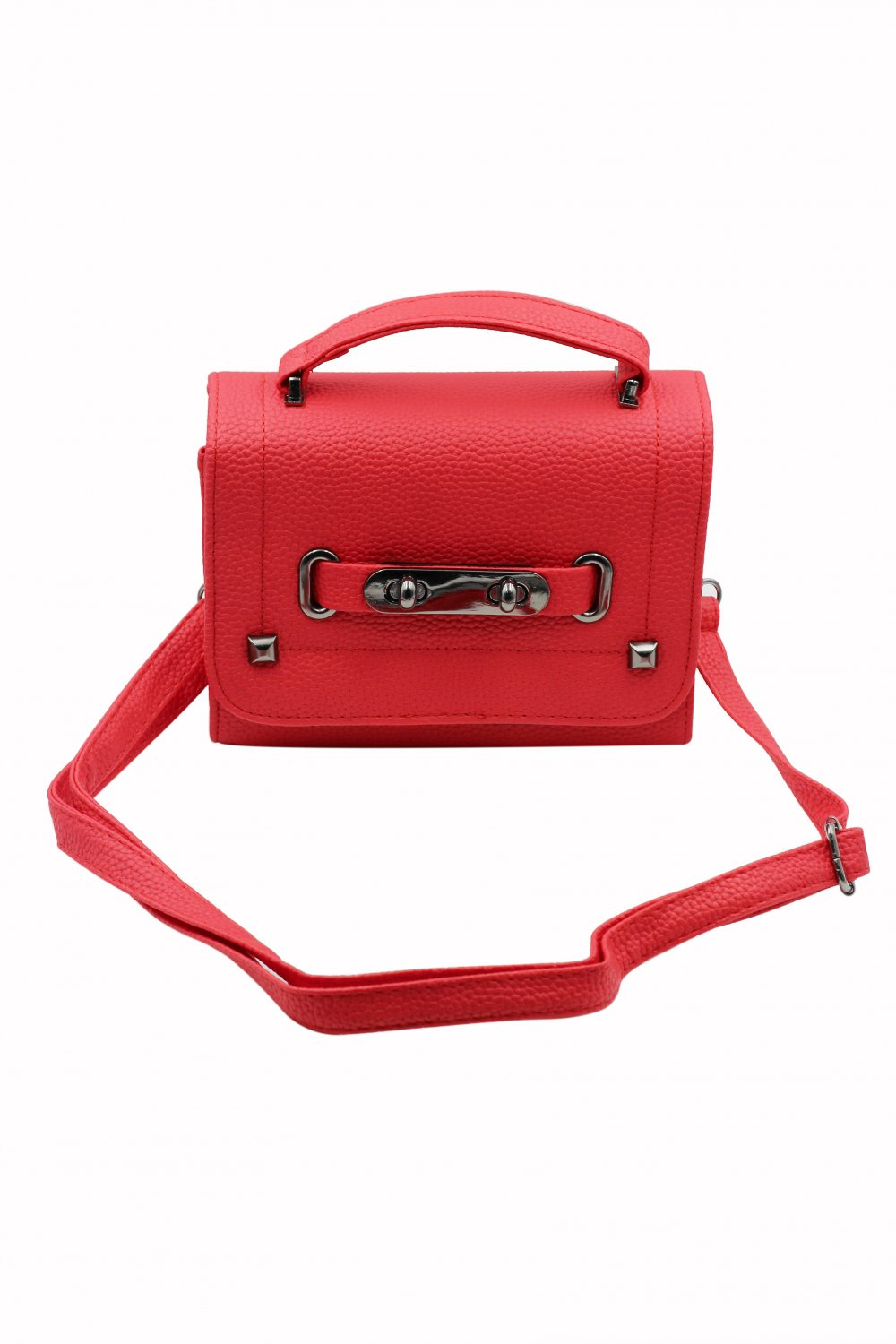Pebble lady removable small leather red handbag