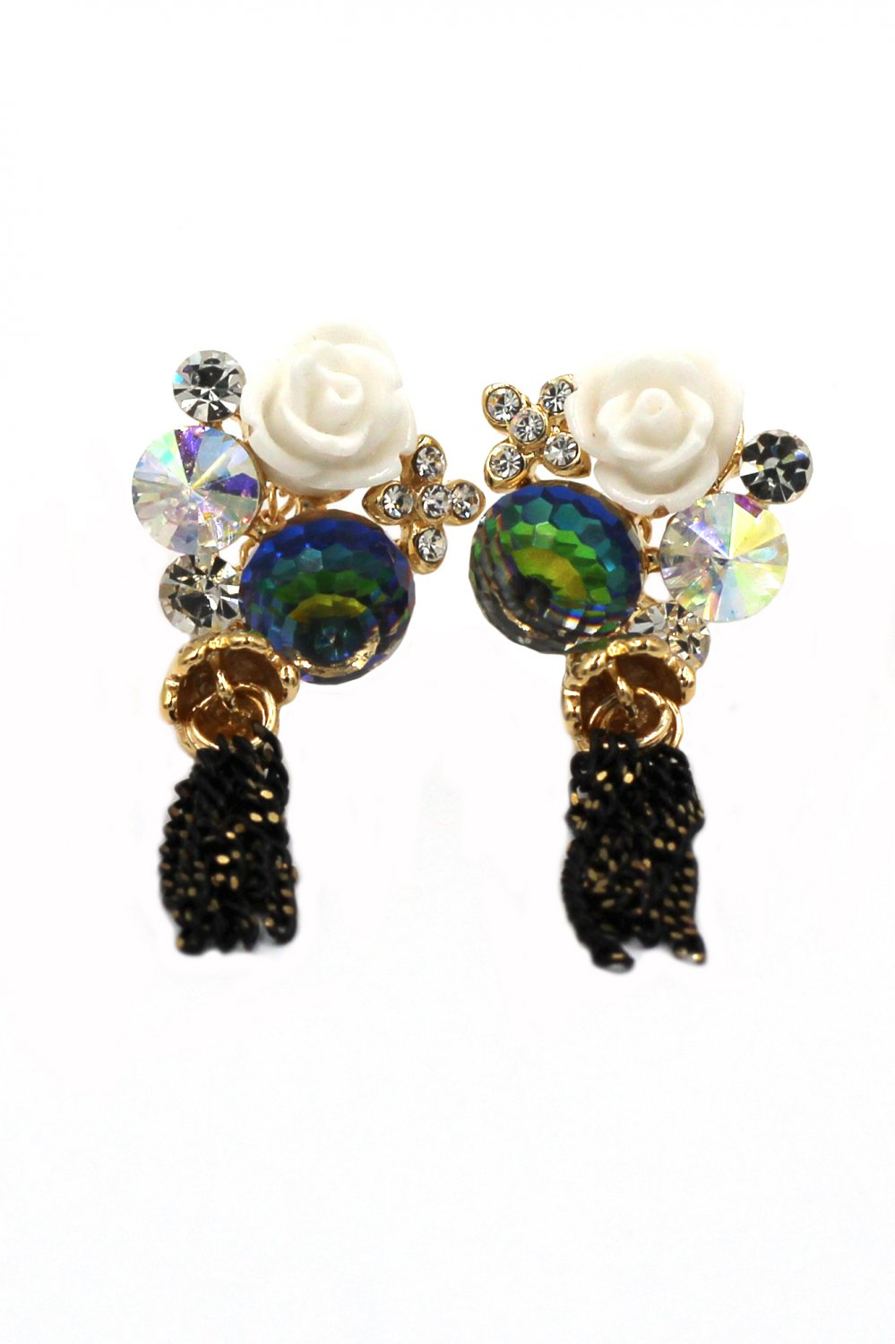 Lovely white flower crystal earrings