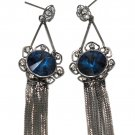 Noble pendant black tassel blue crystal flower earrings