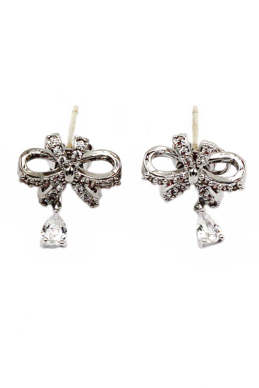Lovely ribbon pendant crystal silver earrings