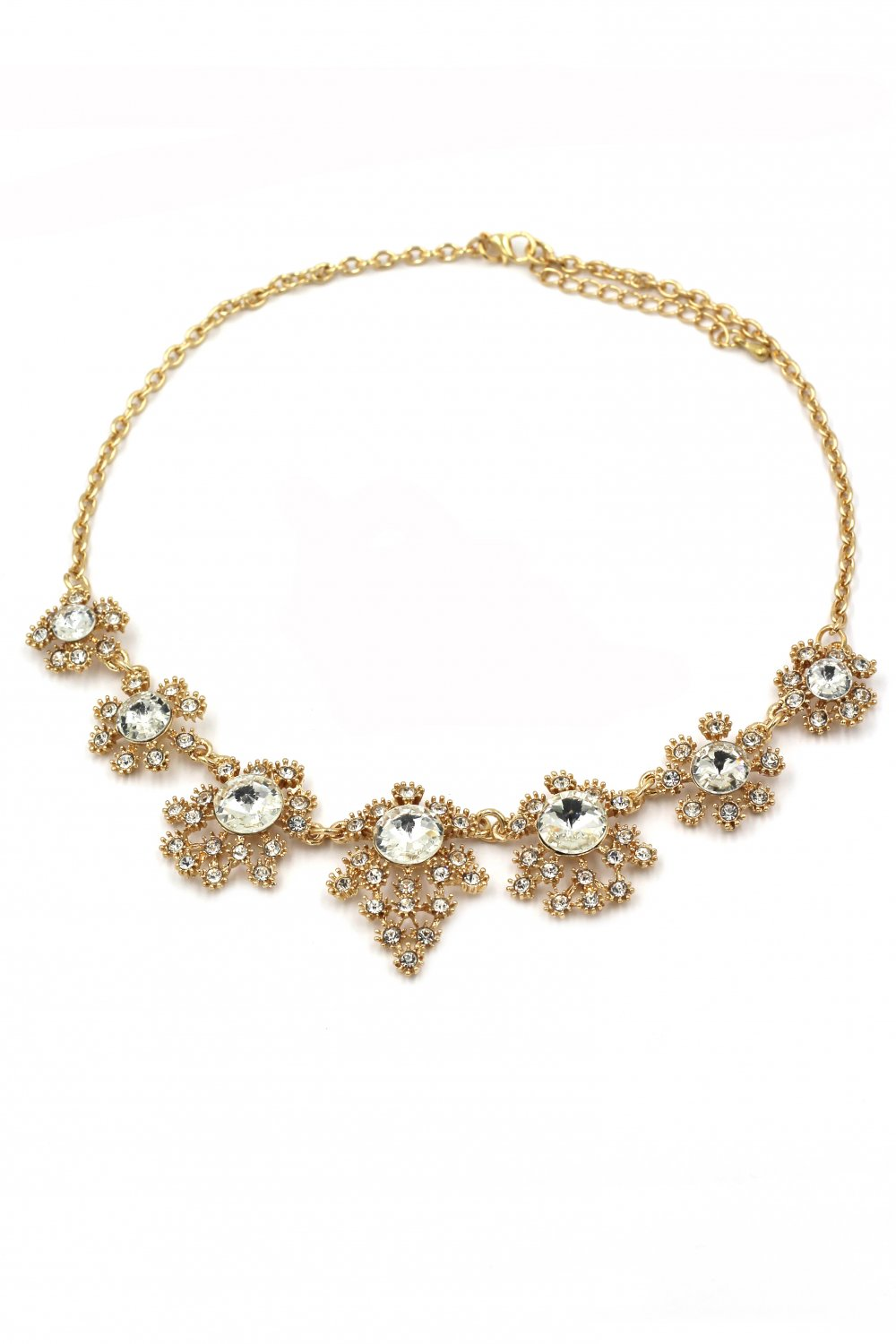 Noble flower crystal gold necklace