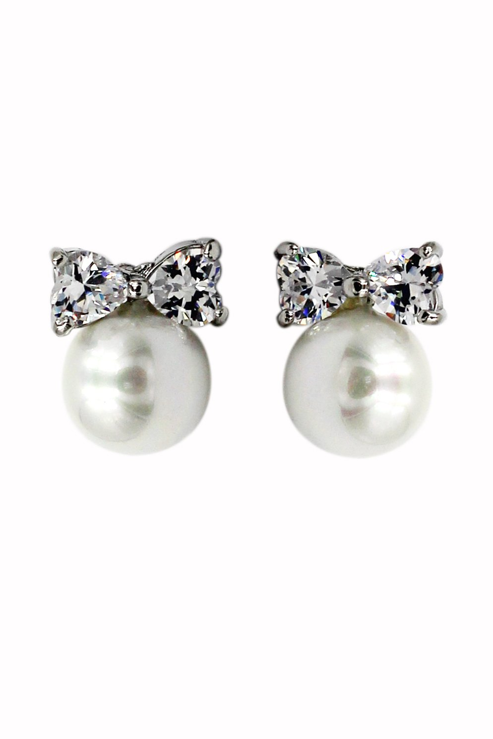 Lovely pearl and bow-knot crystal silver earrings