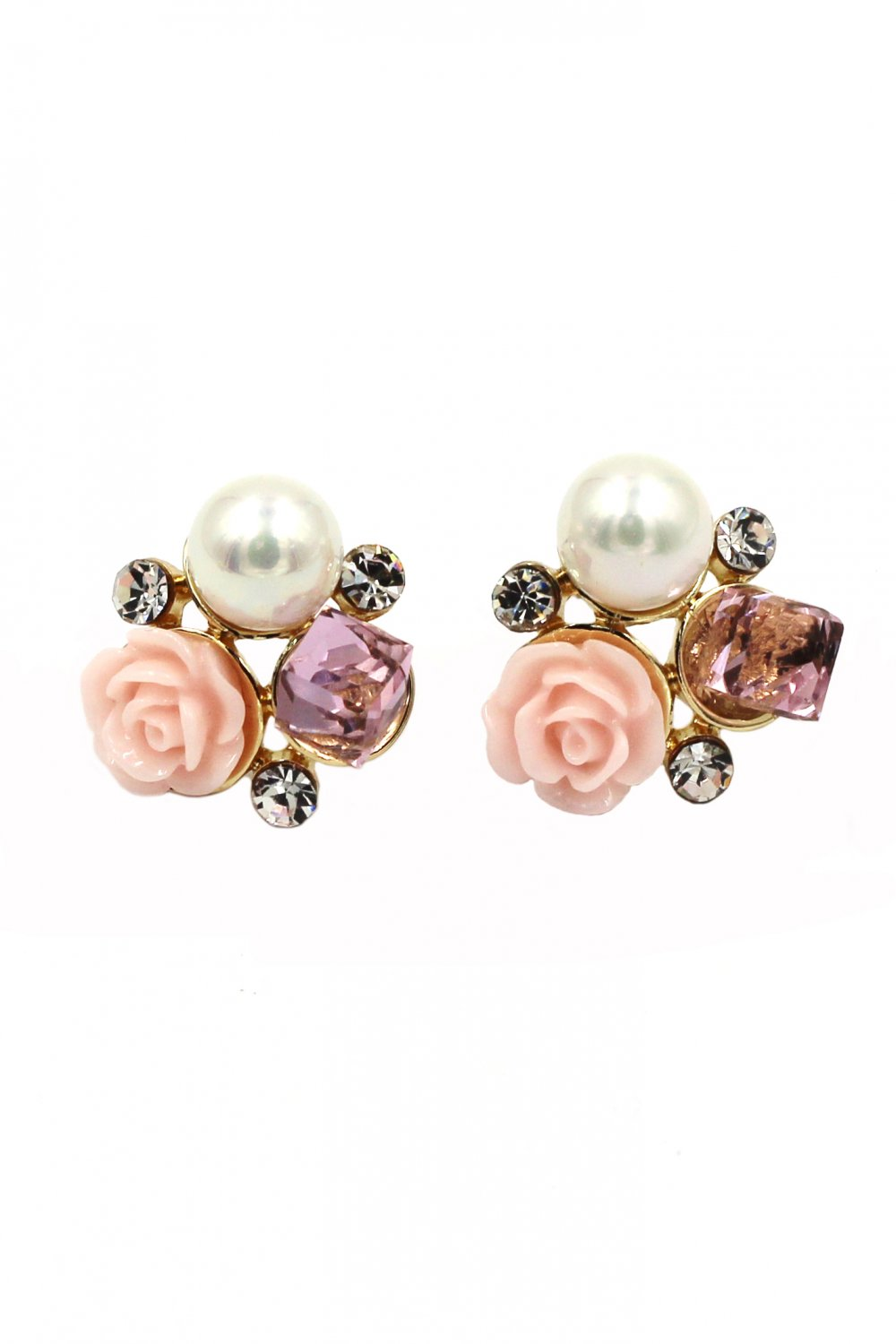 Lovable pink flower crystal pearl earrings