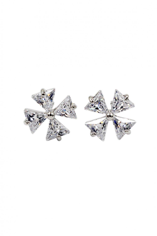 Mini windmill crystal silver earrings