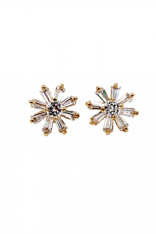 Delicate mini crystal gold earrings