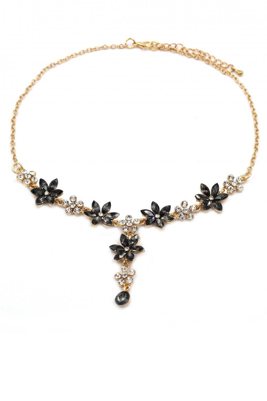 Elegant flower black crystal golden necklace