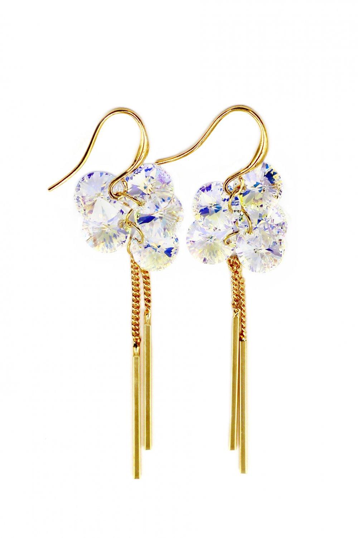 Elegant tassel ceystal gold earrings