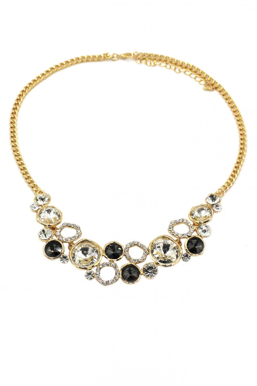 Fashion laps black crystal gold necklace