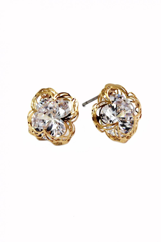 Sweet flower side crystal gold earrings