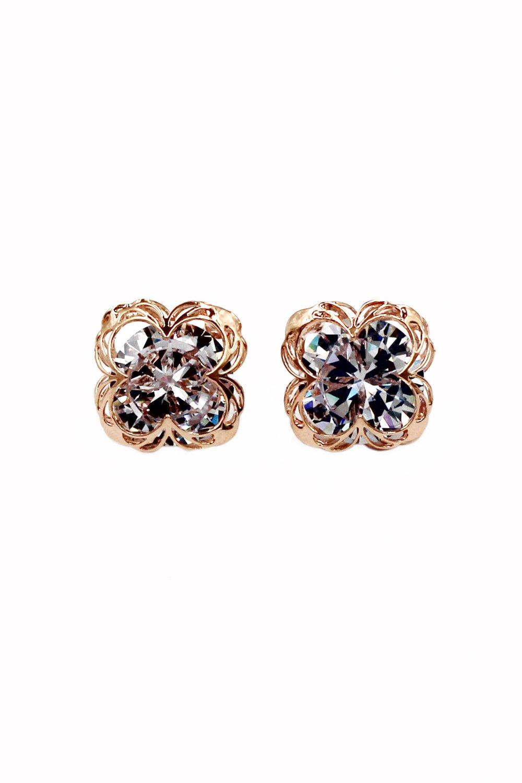 Sweet flower side crystal rose gold earrings