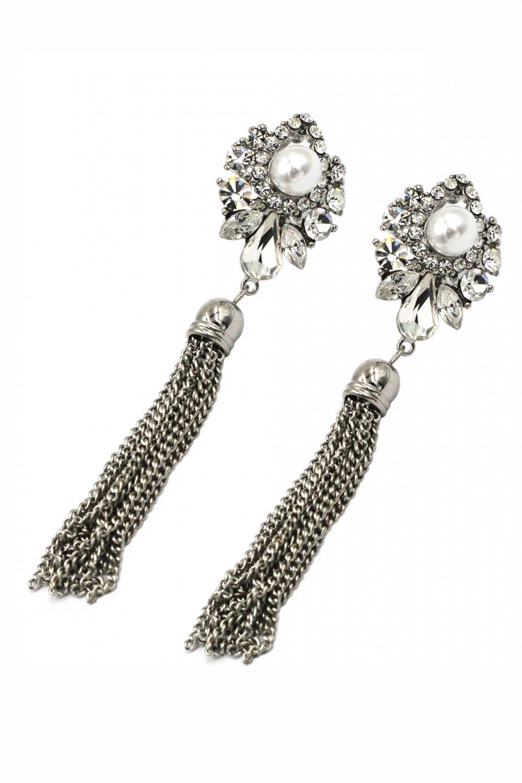 Elegant pendant tassel crystal and pearl silver earrings