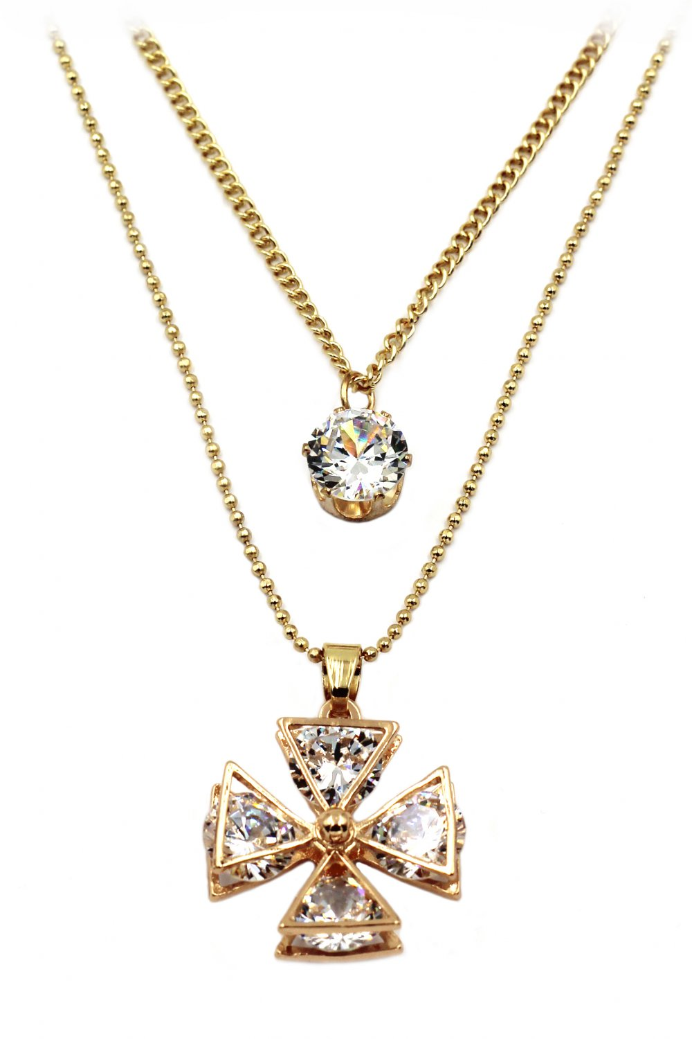Duplexes crystal windmill gold necklace