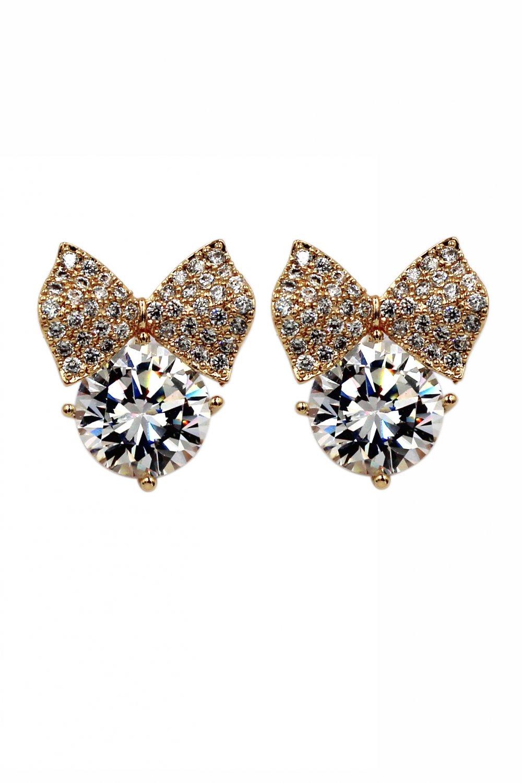 Big bow crystal gold earrings