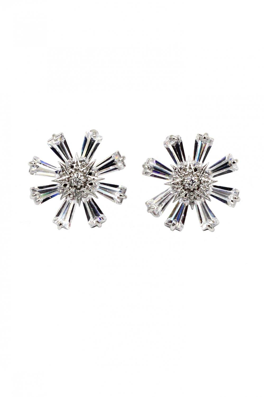 Shining crystal flower silver earrings